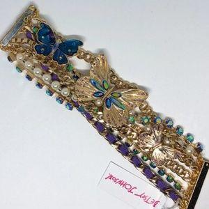 BETSEY JOHNSON Butterflies A/B Crystal Bracelet